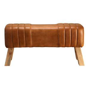 Natural Stain Wooden Leg Tan Bench Handmade Genuine Real Leather Ribbed Stitch
