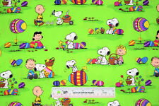 Peanuts Snoopy Woodstock Charlie Brown Easter Green Cotton Fabric  BTY  (E2) *