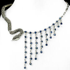 Sterling Silver 925 Genuine Natural Marcasite Snake & Sapphire Necklace 18 Inch
