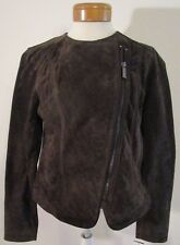 Michael Kors Womens Asymmetrical Zip Suede Leather Moto Jacket M Brown