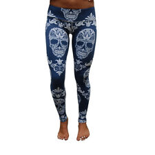 Ladies Skull Full Length Fitness Tights Yoga Pants Size s, M , L , XL