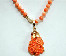 Exquisite 14K Solid Gold and Untreated, Undyed Naturan Coral Necklace