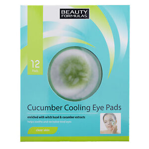 Beauty Formulas Cucumber Cooling Eye Pads x 12 - Tired Eyes, Aloe, Hazel - Vegan