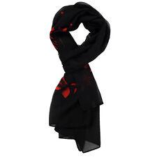 Black Red Flowering Branch Print Pattern Chiffon Scarf For Women HY
