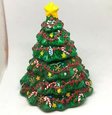 Small Ceramic Christmas Tree Filled Candle Holiday Spice Scented 2 Piece