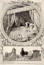 EAU FORTE / Fables de la Fontaine 1883 / LA VIEILLE ET LES DEUX SERVANTES