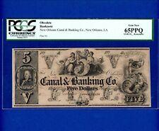 1800's $5 Canal & Banking Co New Orleans LA BEN FRANKLIN PCGS 65PPQ GEW NEW UNC