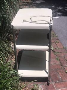 Vtg COSCO Metal 3 Tier Kitchen Rolling Serving Cart & Electric Outlet Off White