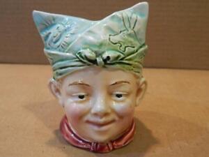Pottery Boy's Head Shape Still Bank Smiling w/ Folded Bandanna on Head Antique
