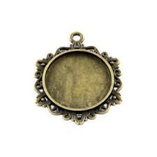 Tibetan Coin Cabochon Settings Antique Bronze 25mm  5 Pcs Findings Jewellery