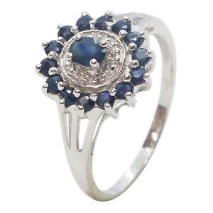 9ct White Gold Oval & Round Dark Blue Sapphire Cluster Diamond Halo Dress Ring