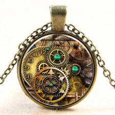 Vintage Glas Anhänger mit Kettengetriebe Zahnrad Cabochon Bronze Metal Halskette