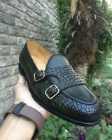 Mens Handmade Monkstraps Loafers Crocodile Print Casual Party Calf Leather Shoes
