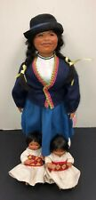 "19 & 6"" Artist Made Limited Porcelain Peruvian Mother & Adorable Twins Dolls #Sa"