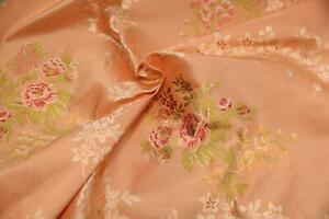 Antique vintage silk taffeta lampas brocade floral peach pink rose fabric