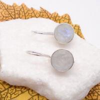 Mondstein weiß blau rund Design Haken Ohrringe Ohrhänger 925 Sterling Silber neu