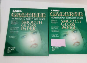 """Lot Ilford Galerie Professional Inkjet Photo Range Smooth Gloss Paper 8.5"""" X 11"""""""