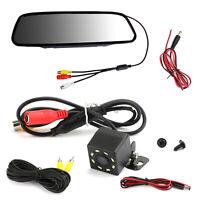 """8 LED Reverse Voiture Caméra de Recul + 5.0"""" Car Moniteur Miroir Kit System"""