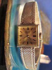 Ladies Gruen 17Jewel Petite Watch 10K R.G.P. White Gold Caliber 294 R Mesh Band