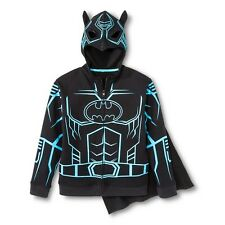 DC Comics Batman Size XLarge 14 - 16 Black Cape Glow In Dark Ink Mask Hoodie NEW