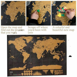 2020 Deluxe Scratch Off World Map Poster Journal Log Giant Map Of The World