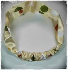 Neu SATIN HAARBAND STIRNBAND champgner/weiß/rot/grün PUNKTE 6cm BREIT Headband