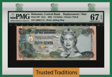 TT PK 68* 2001 BAHAMAS 1/2 DOLLAR QUEEN ELIZABETH II REPLACEMENT NOTE PMG 67 EPQ
