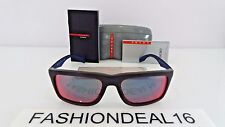 New Prada w/TAGS Authentic Dark Red Blue Mirrored SPS02P SL8-9Q1 57mm Sunglasses