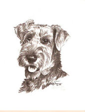 Airedale Terrier Black White Head Study LimEd Art Print by Artist Barbara Walker