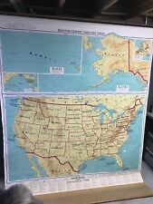 Denoyer-Geppert 1962 United States Geographical Pull Down Map HUGE!