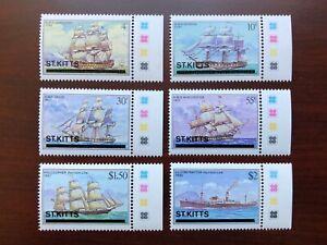 St Kitts 1980 Scott #38-43 Ships Issue Overprinted Margin Stamps Mint NH