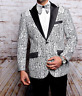 Men Insomnia Manzini Blazer Stage Performer Singer Prom MZN138 White black Lace