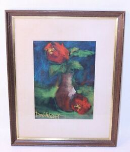 Don Wright Pastel Art Framed Deco MCM Floral Numbered Drawing Signed Louisiana