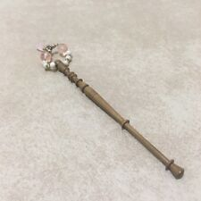 Lace Bobbin Wooden Pink Rose Quartz January Birthstone Pink Glass Beaded Spangle