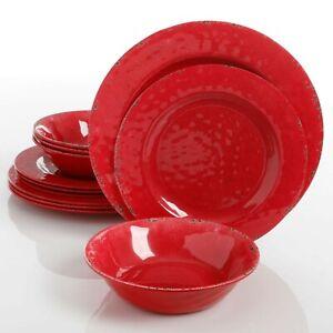 Gibson Studio California Mauna 12-Piece Durable Melamine Dinnerware Set, Red