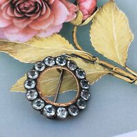 Small Antique Georgian Old Cut Paste Black Dot Silver & 9ct Gold Brooch Lace Pin