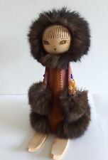 Vintage Russian Ethnic Wood Doll Leather Fur Beaded Clothing Ski Soviet Union