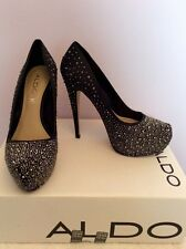 ALDO BLACK SATIN & DIAMANTÉ JEWEL PLATFORM SOLE HEELS SIZE 5/38 COST £90