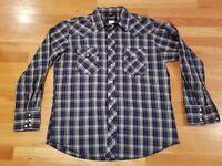 Wrangler Pearl Snap Western Shirt Mens L Large Plaid Nice 75204PP blue green