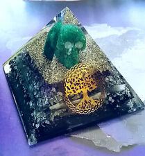115mm Orgone Shungite, Black Tourmaline, Selenite, Green Fluorite Skull Pyramid