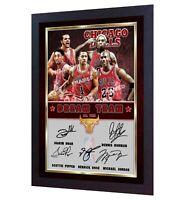 Michael Jordan Dennis Rodman Scottie Pippen Derrick Rose photo signed NBA Framed