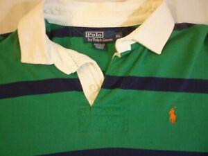 POLO Ralph Lauren Navy & Green Striped Rugby Shirt Men's XL Nice Cond FREE SHIP