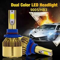 9005 HB3 Switch Dual Color LED Headlight Kit Fog Bulbs 6000K White 3000K Yellow