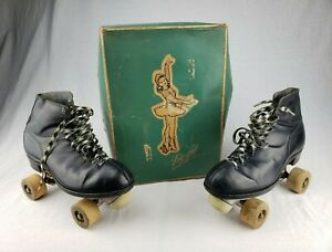 RARE Vintage BETTY LYTLE Hyde Black Roller Skates Chicago WARE BROS 1914 Size 7