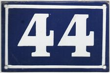 Old blue French house number 44 door gate wall plate plaque enamel metal sign