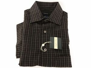 Joseph & Feiss Gray and Taupe Plaid Camp Shirt Modal/Polyester Size Small