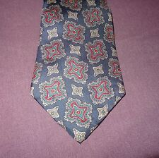 "Tie Necktie Geometric Blue Red  56"" 100% Silk"