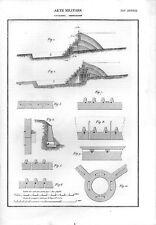 Stampa antica INGEGNERIA MILITARE costruzione cavalieri 1848 Old print