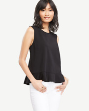 NEW NWT Ann Taylor Peplum Shell Size: M Color: Black