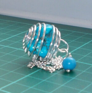 Auction Silver Plated Spiral Cage Pendulum with Turquoise Magnesite Tumblestone